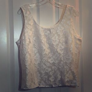 Lace lined tank top